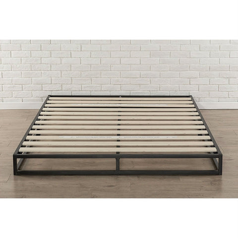 Image of Queen size 6-inch Low Profile Metal Platform Bed Frame with Wooden Slats