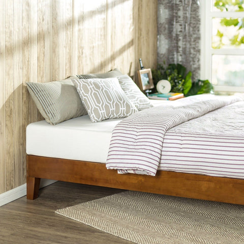 Image of Twin size Low Profile Wooden Platform Bed Frame in Cherry Finish
