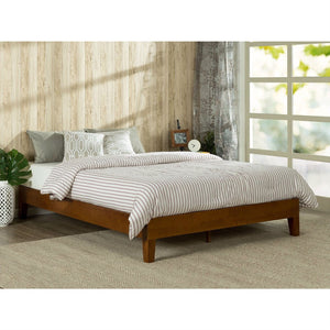 Twin size Low Profile Wooden Platform Bed Frame in Cherry Finish