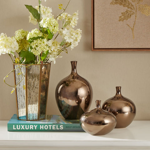 Ansen Metallic 3PC Bronze Vase Set