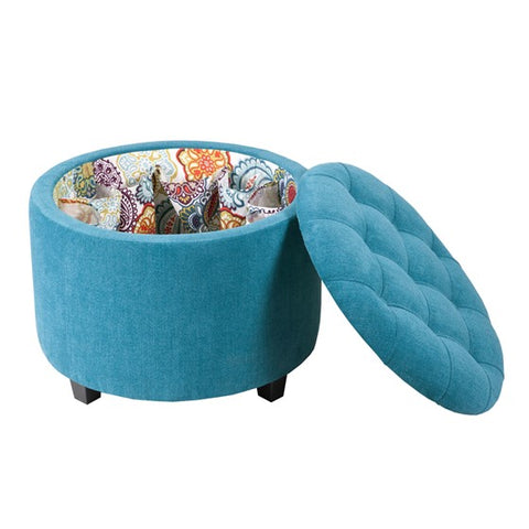 Image of Sasha Round Blue Storage Ottoman  (Shoe Holder Insert)
