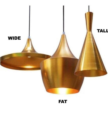Beat Shade Tall Pendant Lamp - Gold - Reproduction