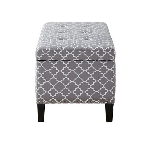 Shandra II Tufted Top Grey Storage Bench (Almost Gone)