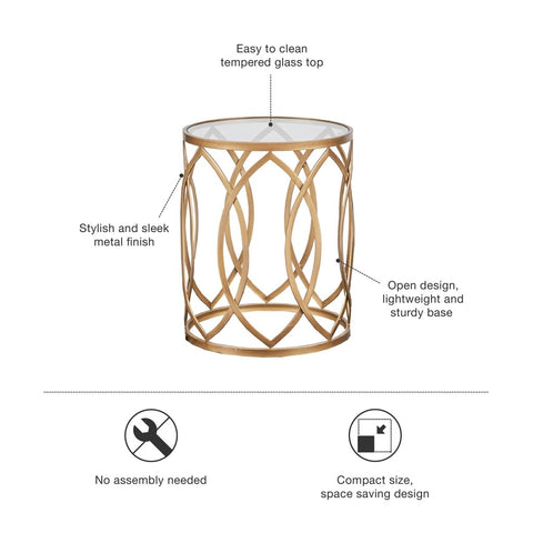 Image of Arlo Metal Eyelet Gold Accent Table
