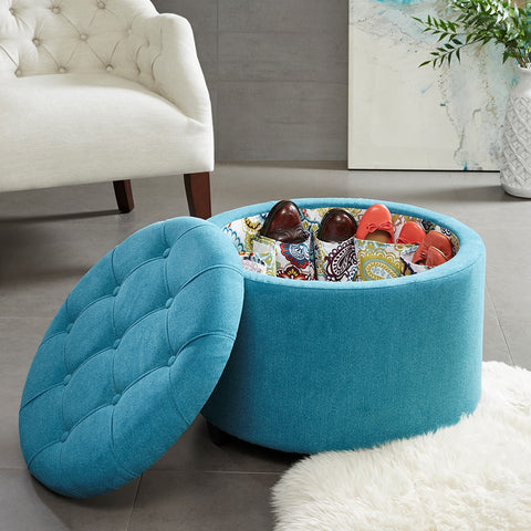 Sasha Round Storage Ottoman  (Shoe Holder Insert)