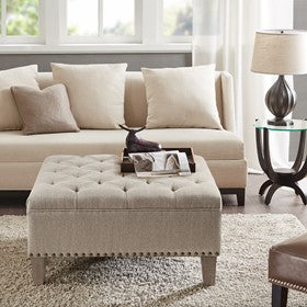 Image of Lindsey Tufted Square Taupe Cocktail Ottoman