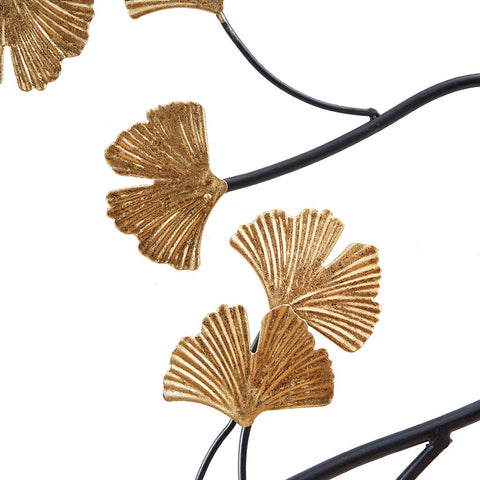 Golden Gingko Leaves Metal Wall Decor