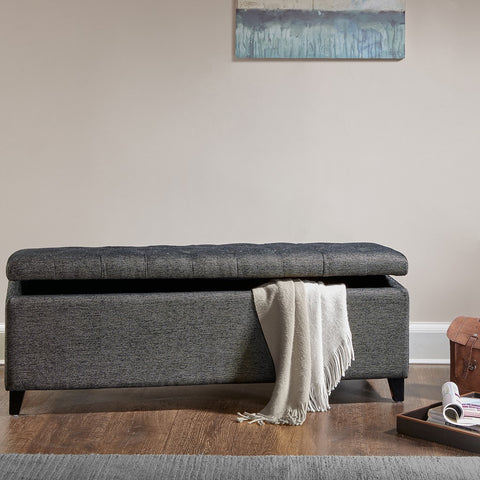 Shandra Charcoal Tufted Top Storage Bench
