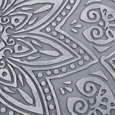 Grey Medallion Grey Carved Wall Panel