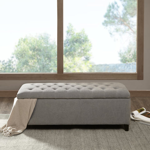 Shandra Grey Tufted Top Storage Bench