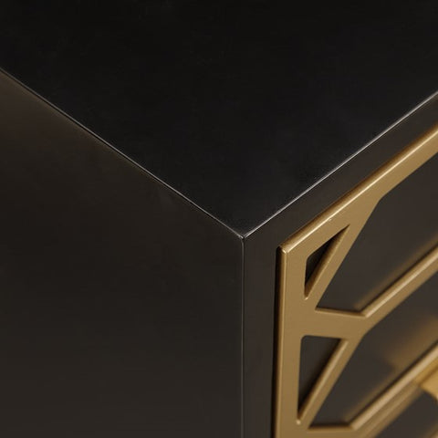 Image of Maria Gold Lattice 3-Drawer Black Gold Accent Chest