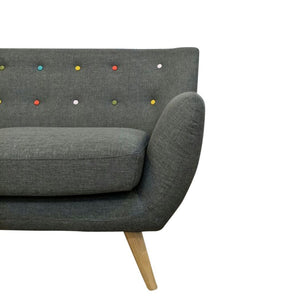 Ebba 2-Seater Sofa - Grey (with multicolor buttons)