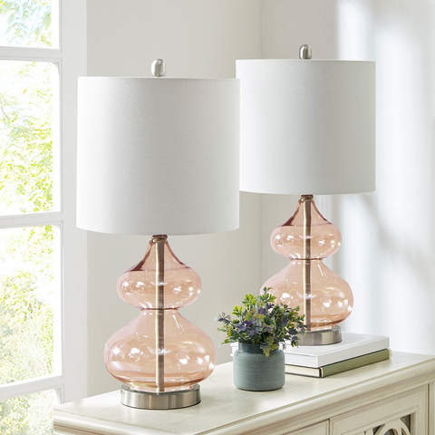 Image of Ellipse Pink Table Lamp Set Of 2