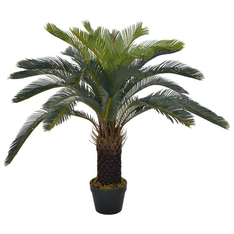 Artificial Plant Cycas Palm with Pot Green 35.4""