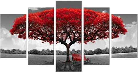 Image of Red Tree Picture Modern Giclee Canvas