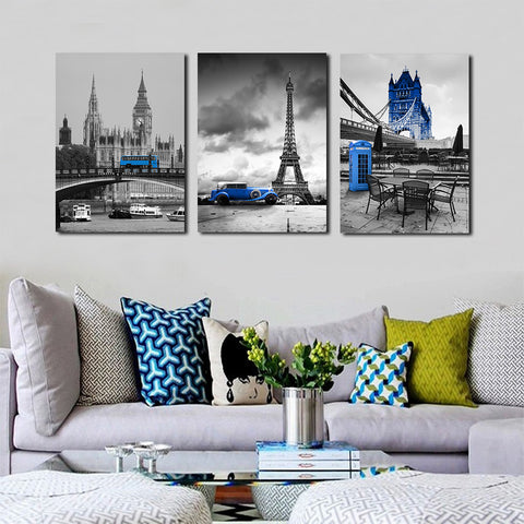 Europe Blue Bus Canvas