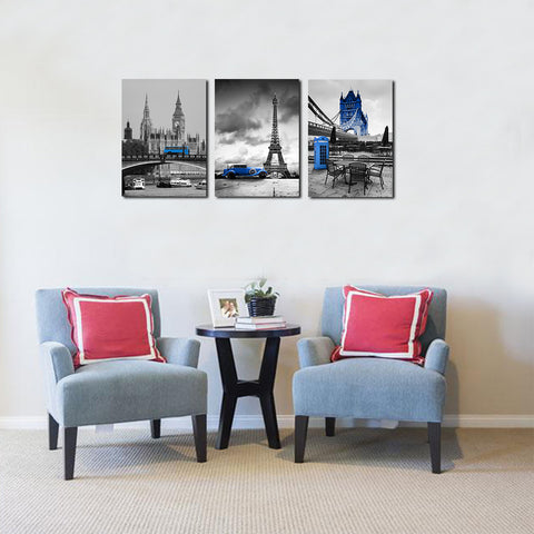 Image of Europe Blue Bus Canvas
