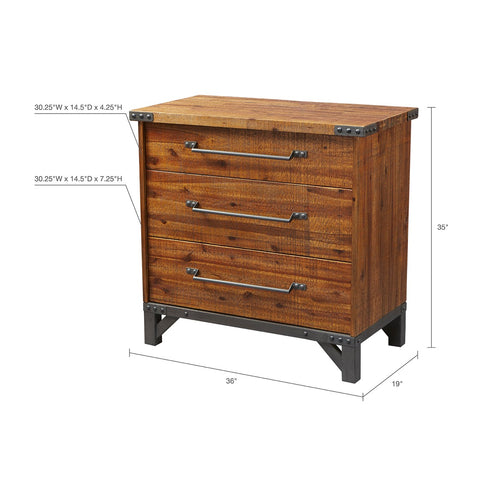 Image of Lancaster 3 Drawer Amber Dresser