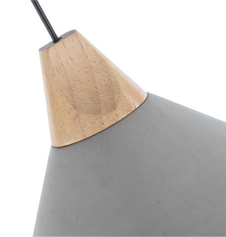 Image of Cement Pendant Lamp with Wooden Natural Top - Pratt