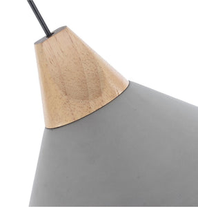 Cement Pendant Lamp with Wooden Natural Top - Pratt
