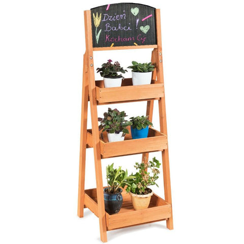 Wooden Sidewalk Chalkboard Sign Display with Shelves