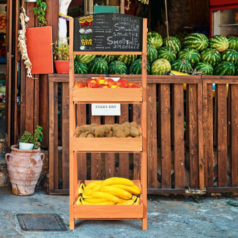 Image of Wooden Sidewalk Chalkboard Sign Display with Shelves