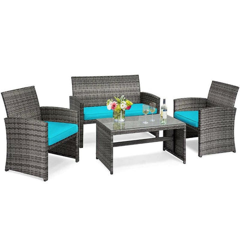 4 Piece Patio Rattan Furniture Set