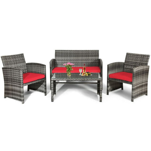 Image of 4 Piece Patio Rattan Furniture Set