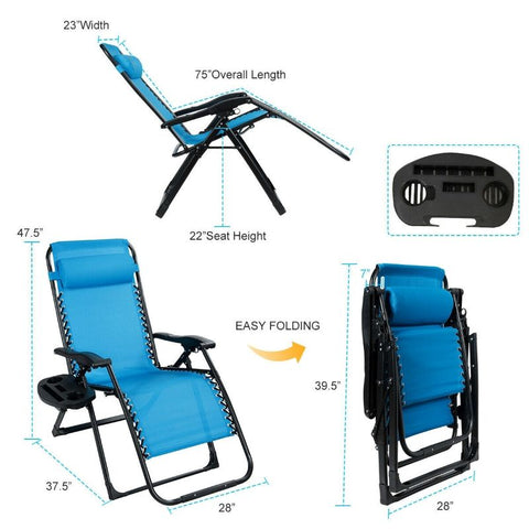 Oversize Lounge and Patio Chair - Heavy Duty  Folding  Reclining - Blue
