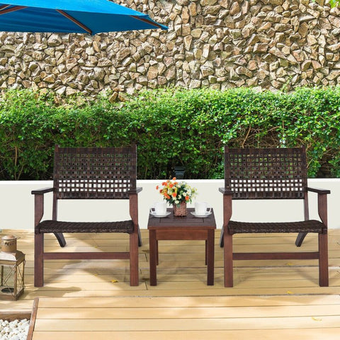 Image of Outdoor Wooden Patio Rattan Furniture Set - 3 Piece