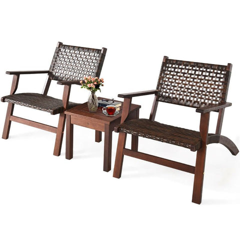 Outdoor Wooden Patio Rattan Furniture Set - 3 Piece
