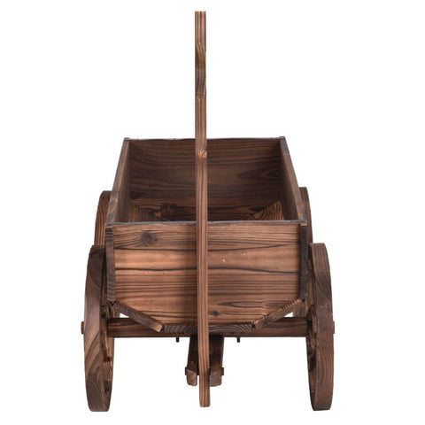 Image of Wood Wagon Planter Pot Stand with Wheels