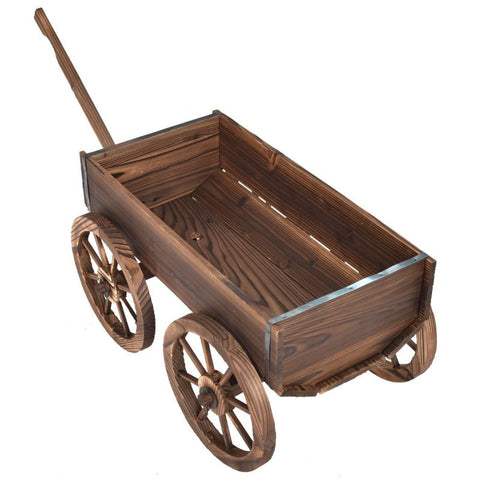 Wood Wagon Planter Pot Stand with Wheels