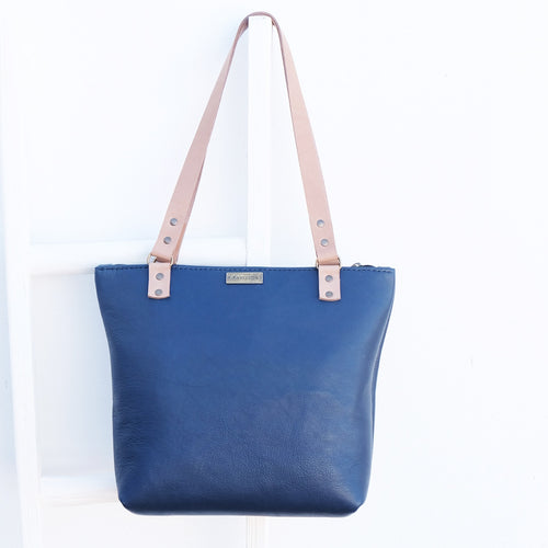Handmade leather shopper Navy
