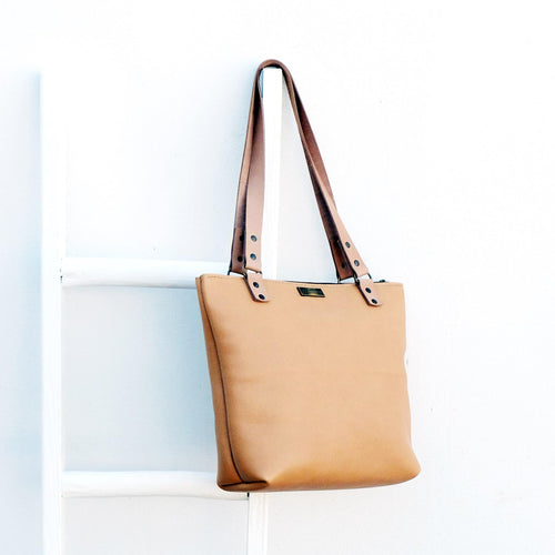 Anna Hazelnut Leather Shopper Bag
