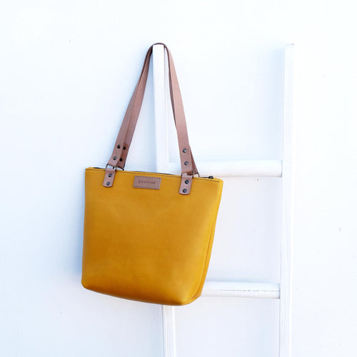 Anna Mustard Leather Shopper Bag