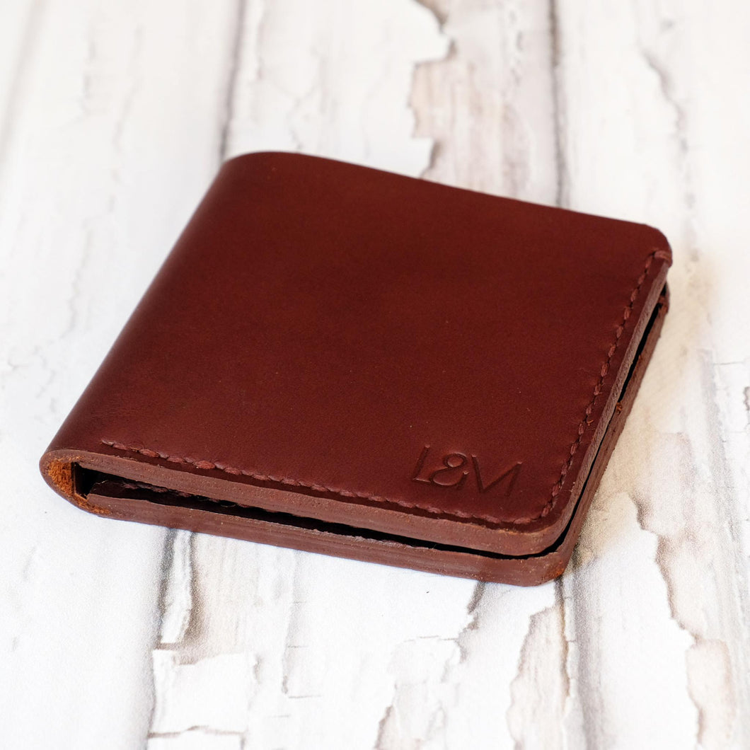 Bi Fold wallet russet bovine leather