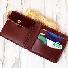 Load image into Gallery viewer, Bi Fold wallet russet inner view
