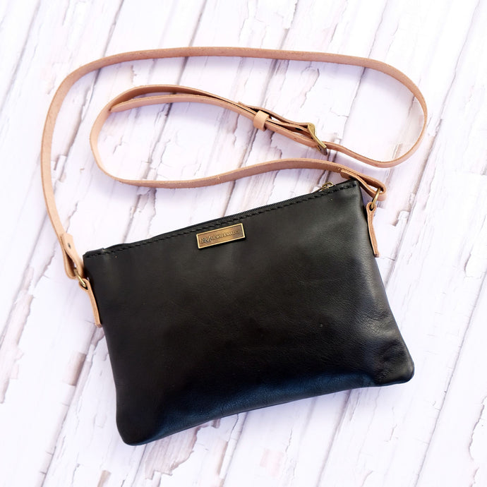 Black Bovine leather casual sling bag