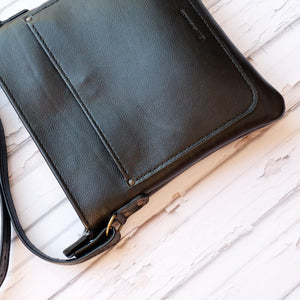 Hand stitched Cross over black leather satchel