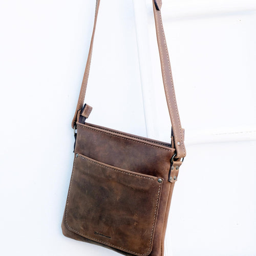 Cross over chocolate brown leather satchel