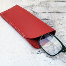 Load image into Gallery viewer, Leather Glasses Sleeves Red