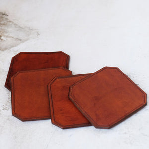 Tan Leather Coaster Set Pack of 4
