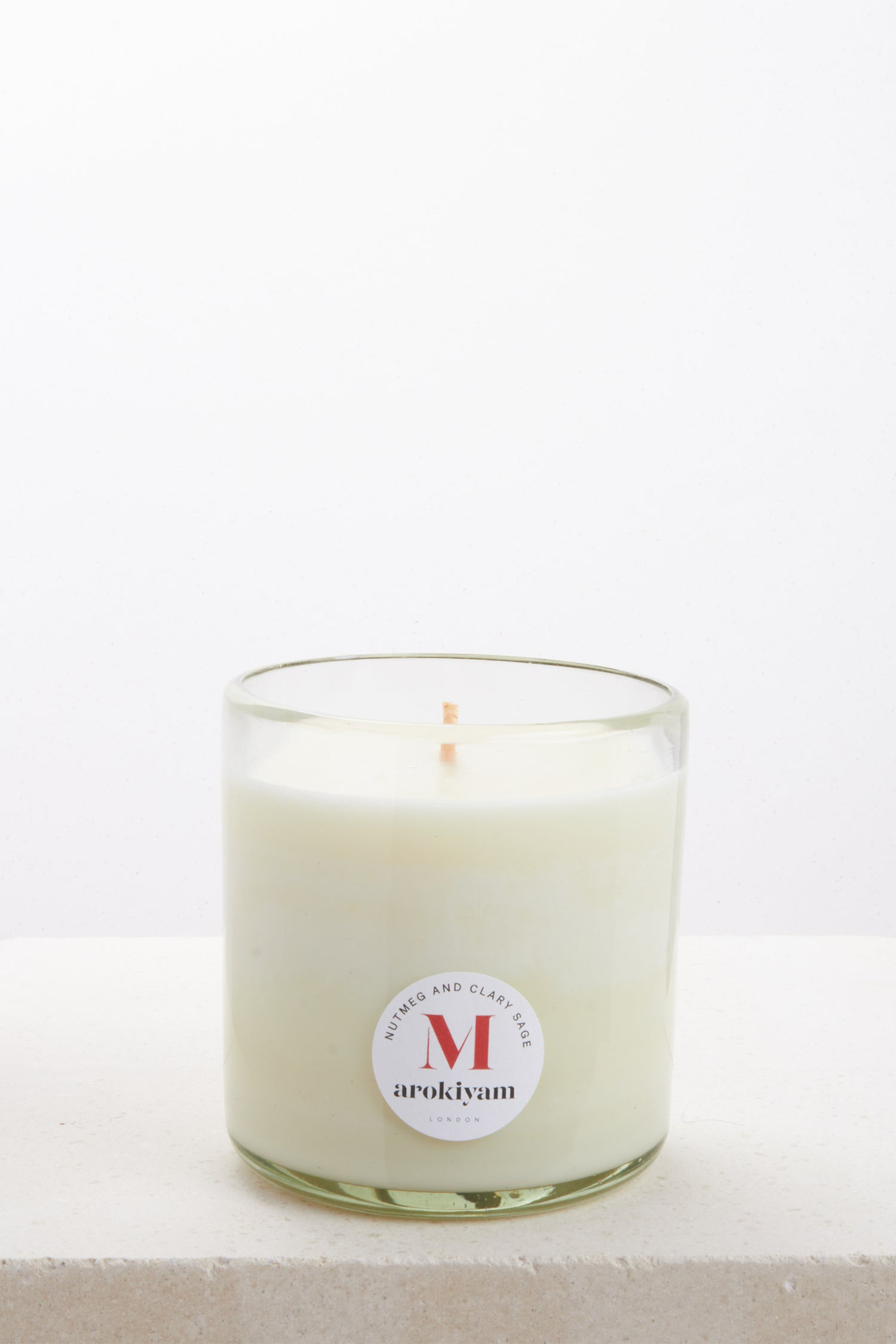 Vegan candle made from a coconut and soy wax and scented with natural nutmeg and clary sage. Made in London.