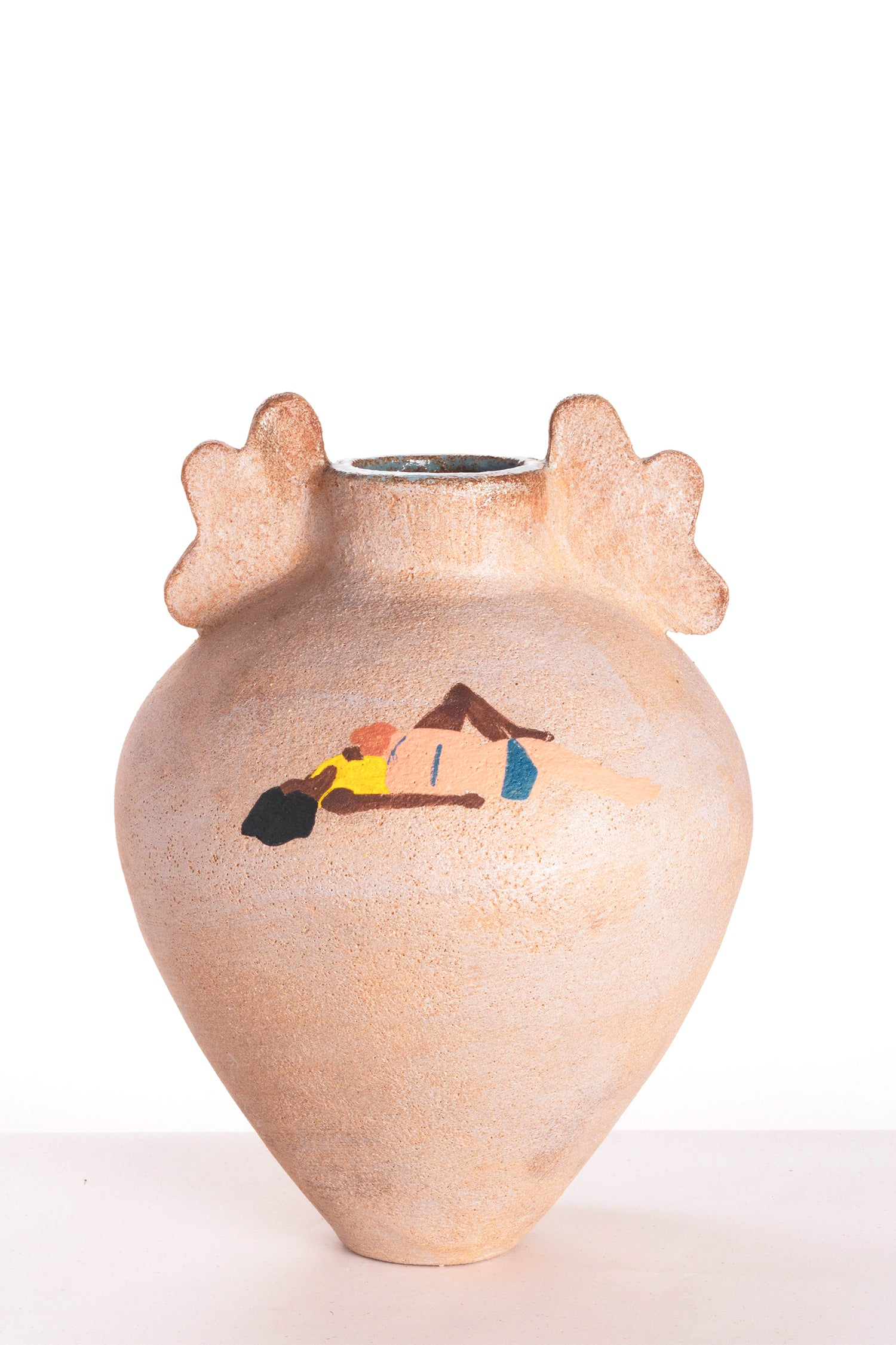 Vase - Natural Clay - sunbathing couple