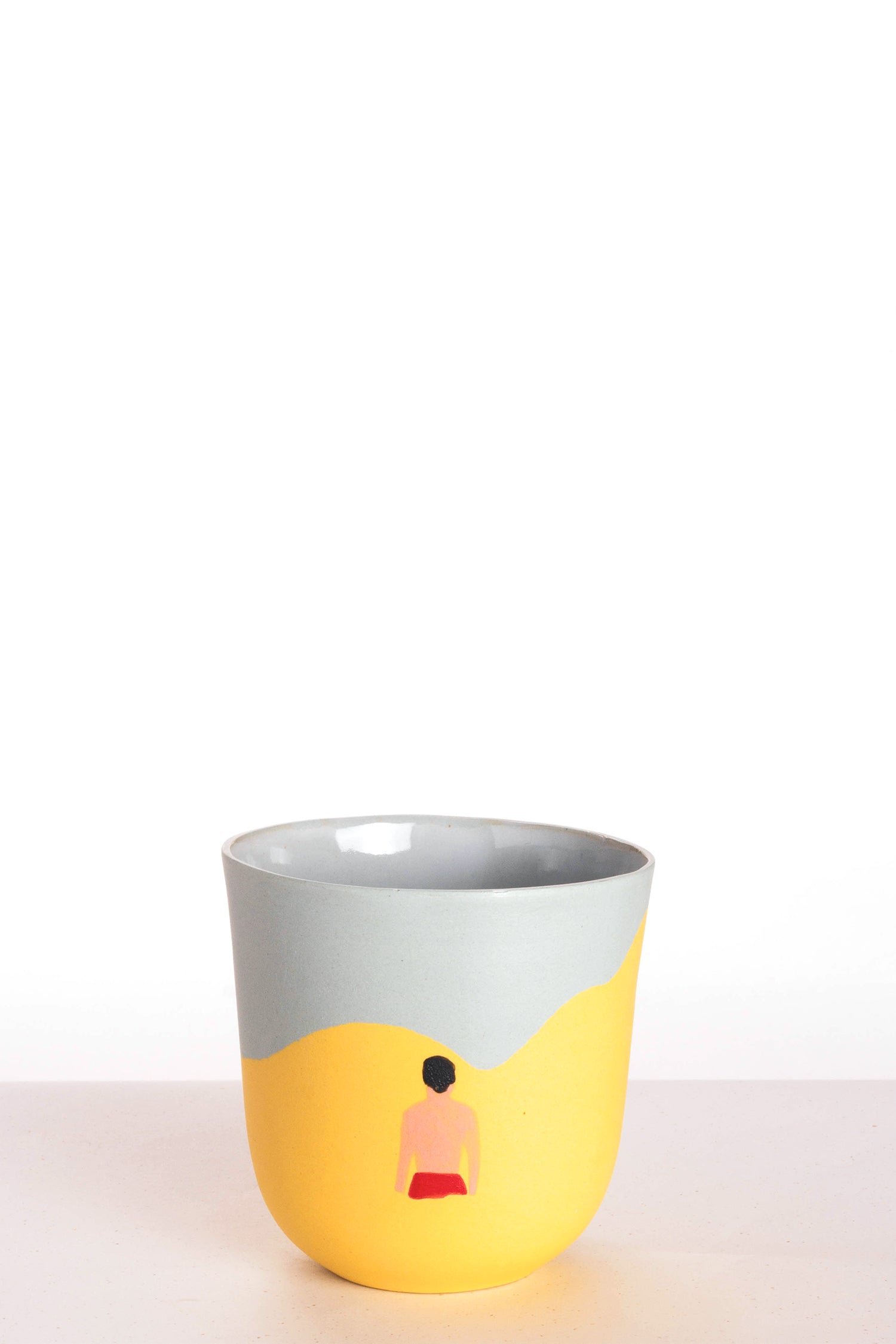 Basic cup - Yellow/blue - swimming man