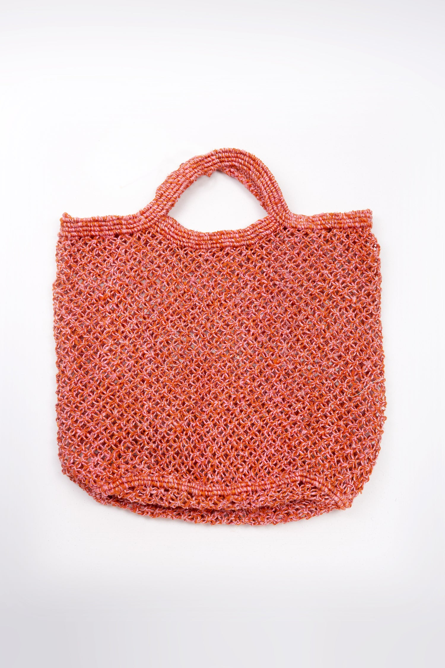JUTE MACRAME SHOPPING BAG - CORAL