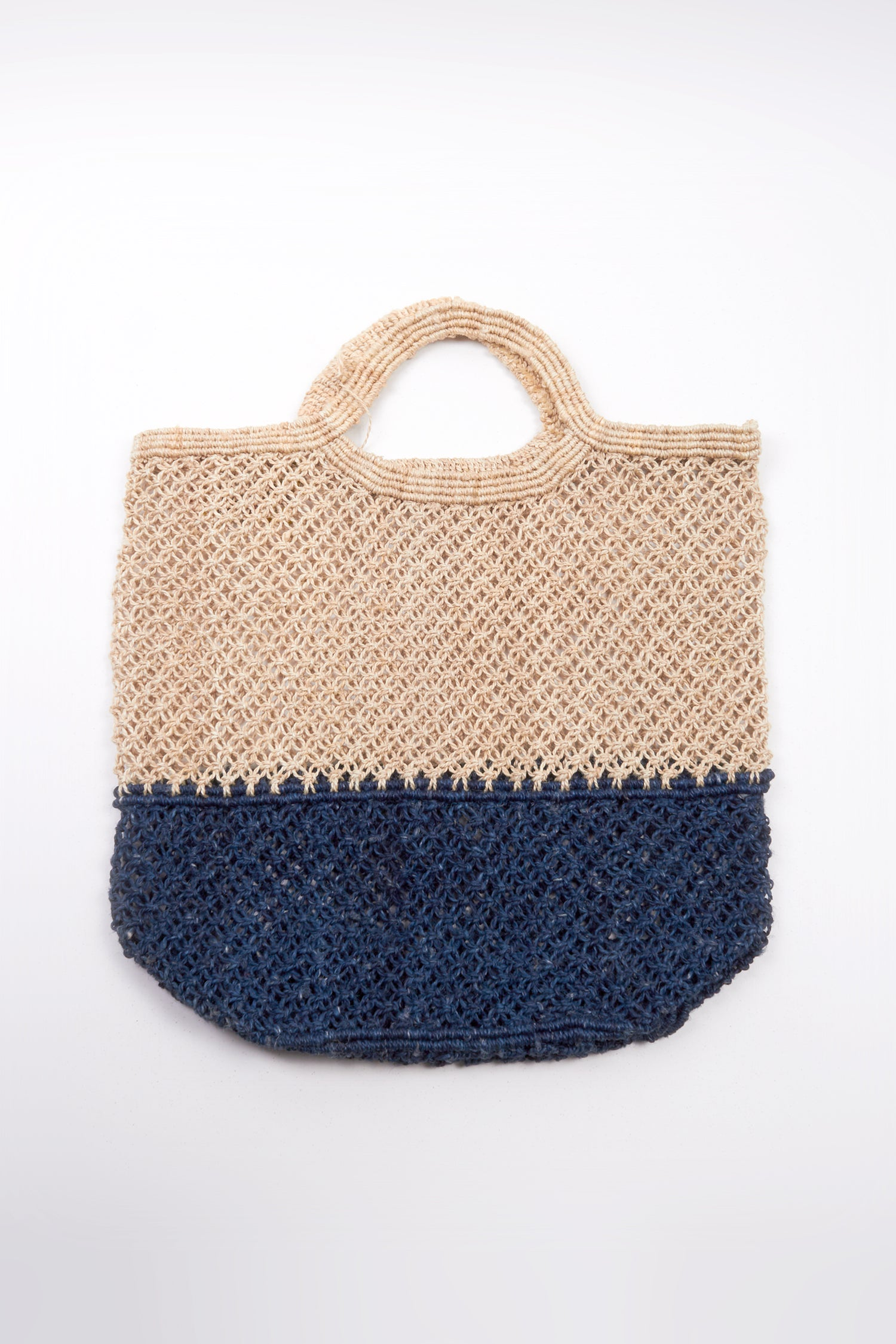 JUTE MACRAME SHOPPING BAG - NATURAL/ INDIGO