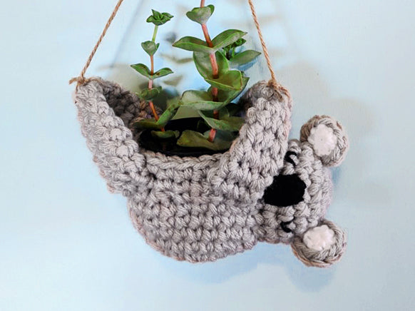 Crochet Pattern: Hanging Koala Planter for Charity