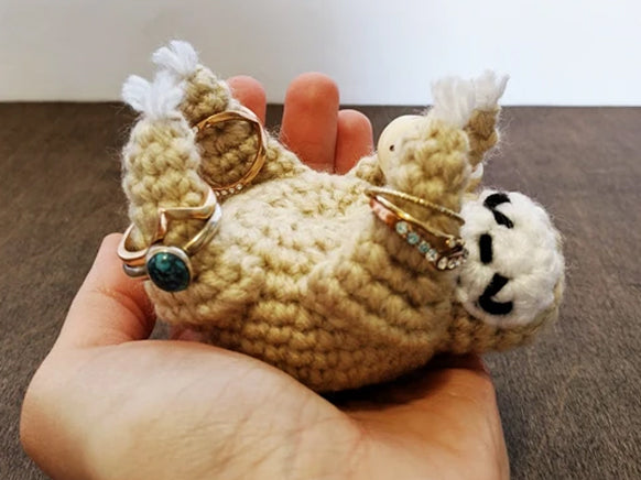 Crochet Pattern: Sleepy Sloth Ring Holder